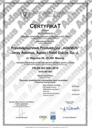 ADAMUS - Certyfikat UDT PN-EN ISO 9001:2015